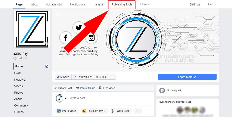 Jadualkan kandungan pada laman Facebook